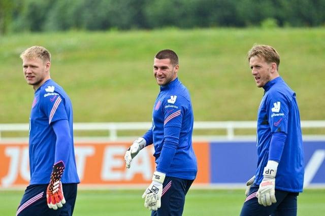 England goalkeepers Aaron Ramsdale, Sam Johnstone and Jordan Pickford