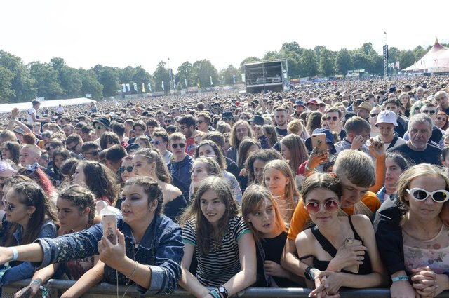 A huge crowd watches Miles Kane on the main stage in Hillsborough Park as Tramlines 2019 gets into full swing