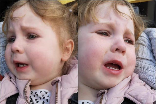 Lucinda Taylor-Milne shared footage of her daughter crying in Sheffield