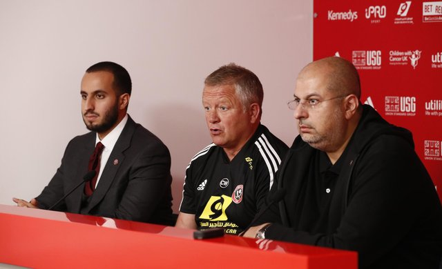 H.H. Prince Musa'ad bin Khalid bin Musa'ad Al Sa'ud, (l) manager Chris Wilder and H.R.H Prince Abdullah bin Mosa'ad bin Abdulaziz Al Sa'ud at a press conference introducing the new owners of Sheffield United  at Bramall Lane, Sheffield. Picture date: 19th September 2019. Picture credit should read: Simon Bellis/Sportimage