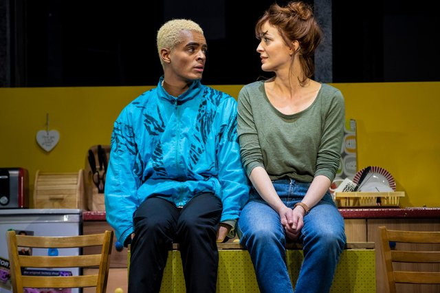 Jamie and his mum Margaret on stage, played by Layton Williams and Amy Ellen Richardson