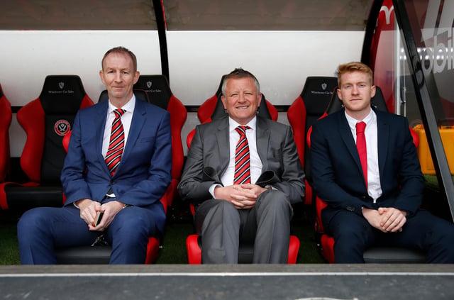 Chris Wilder at this Blades unveiling alongside Alan Knill and Matt Prestridge: Simon Bellis/Sportimage