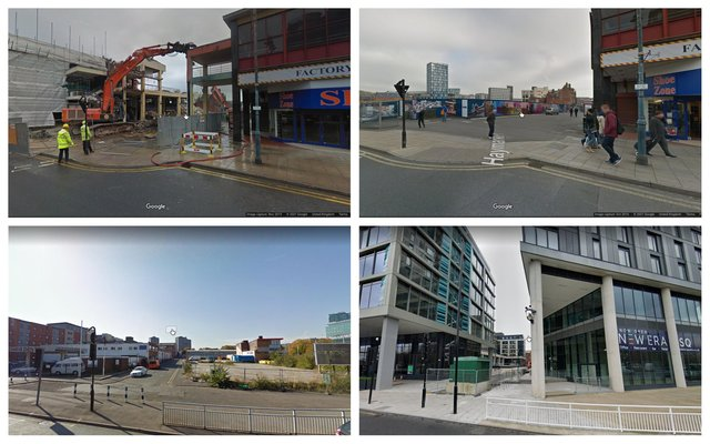 Google Maps images of the former Castle Market and New Era development, Sheffield