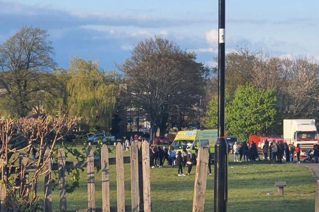 An ambulance was present at the scene. Photo: (Sheffield Now)