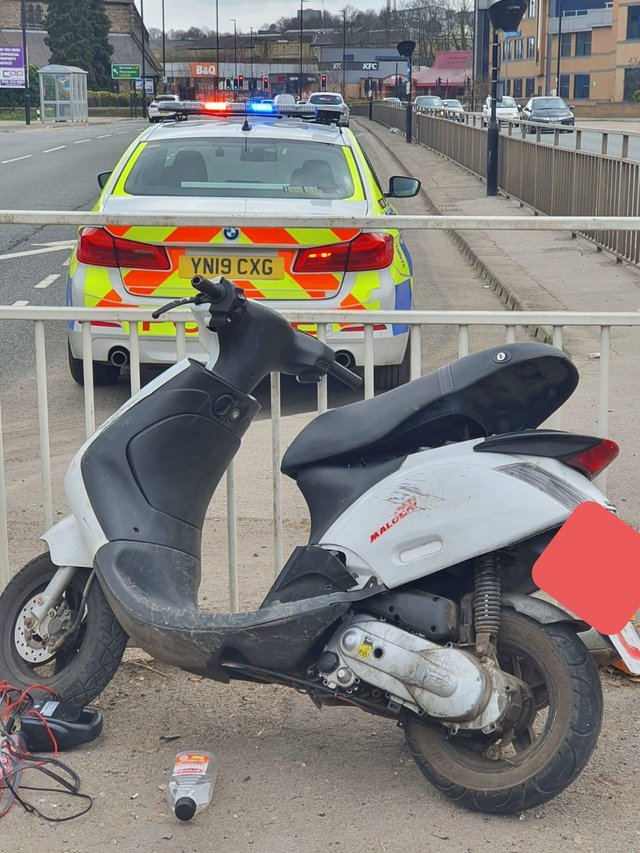 This scooter was abandoned after a police chase through Sheffield
