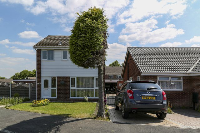 """The chopped tree at the centre of the neighbour dispute in Sheffield, June 23, 2021.   A neighbourly dispute in Sheffield sparked debate on Channel 5's Jeremy Vine show after a tree was cut in half.  See SWNS story SWLEtree.  During the programme, it was revealed that the tree was meticulously halved after a """"petty"""" neighbour, from the Waterthorpe area, didn't like branches of the tree hanging over their driveway.  A man who wished to remain anonymous said that it was cut in half on Friday afternoon and both neighbours had agreed to this, as one person wanted to keep the tree on their half, but the other didn't."""