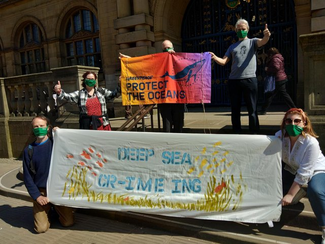 Local residents protesting Deep Sea Mining at the Town Hall. Picture by Greenpeace Sheffield Group.