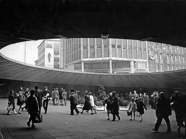 The famous Sheffield city centre underground walkway at Castle Square, known to all of course as The Hole in The Road and regarded with some nostalgia by Sheffielders, even though it wasn't always pleasant to walk through.