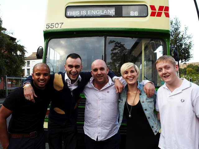 Shane Meadows centre, with the cast of This Is England which was partly filmed in Sheffield