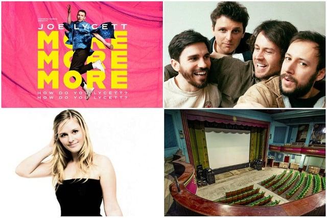Top left: Joe Lycett; Night Flight Bottom left:Violinist Eva Thorarinsdottir with The Piccadilly Sinfonietta; bottom right: Abbeydale Picture House