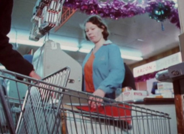 Anne Marie Lozinsky shown at work at a Barnsley supermarket