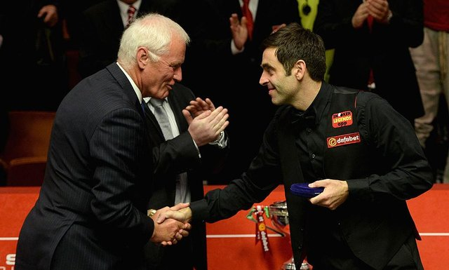 World Snooker chairman Barry Hearn, left, with reigning world champion Ronnie O'Sullivan
