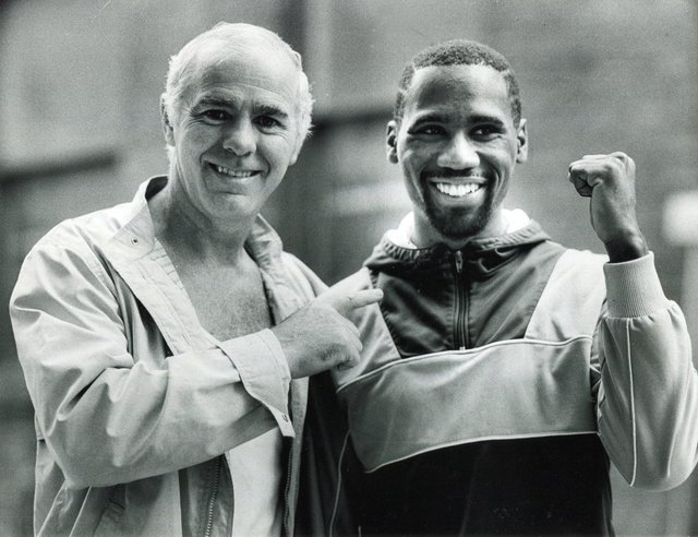 Boxer Fidel Smith pictured with Brendan Ingle, 1987