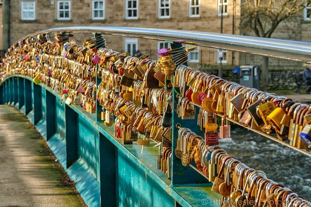 Love Locks on the bridge over the River Wye in Bakewell