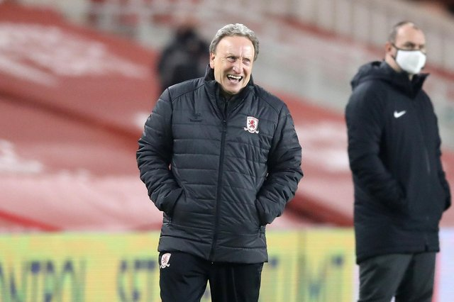 Middlesbrough manager Neil Warnock laughs whilst watching on the touchline during the Sky Bet Championship match at the Riverside Stadium, Middlesbrough.