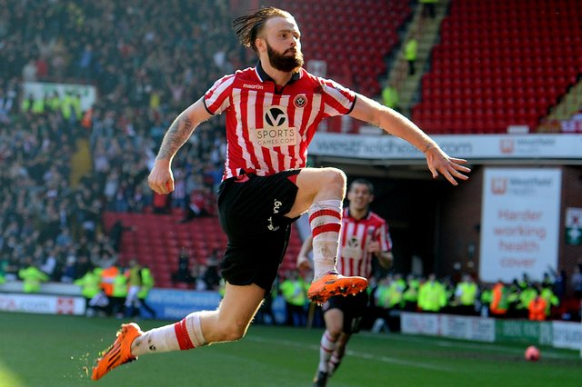 John Brayford is probably best reminded for scoring this goal for Sheffield United in their FA Cup quarter-final win over Charlton Athletic (James Hardisty)