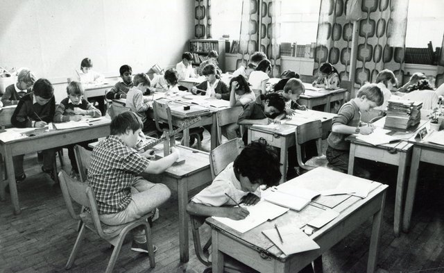 Heads down at Hucklow Middle School, Sheffield, 1986